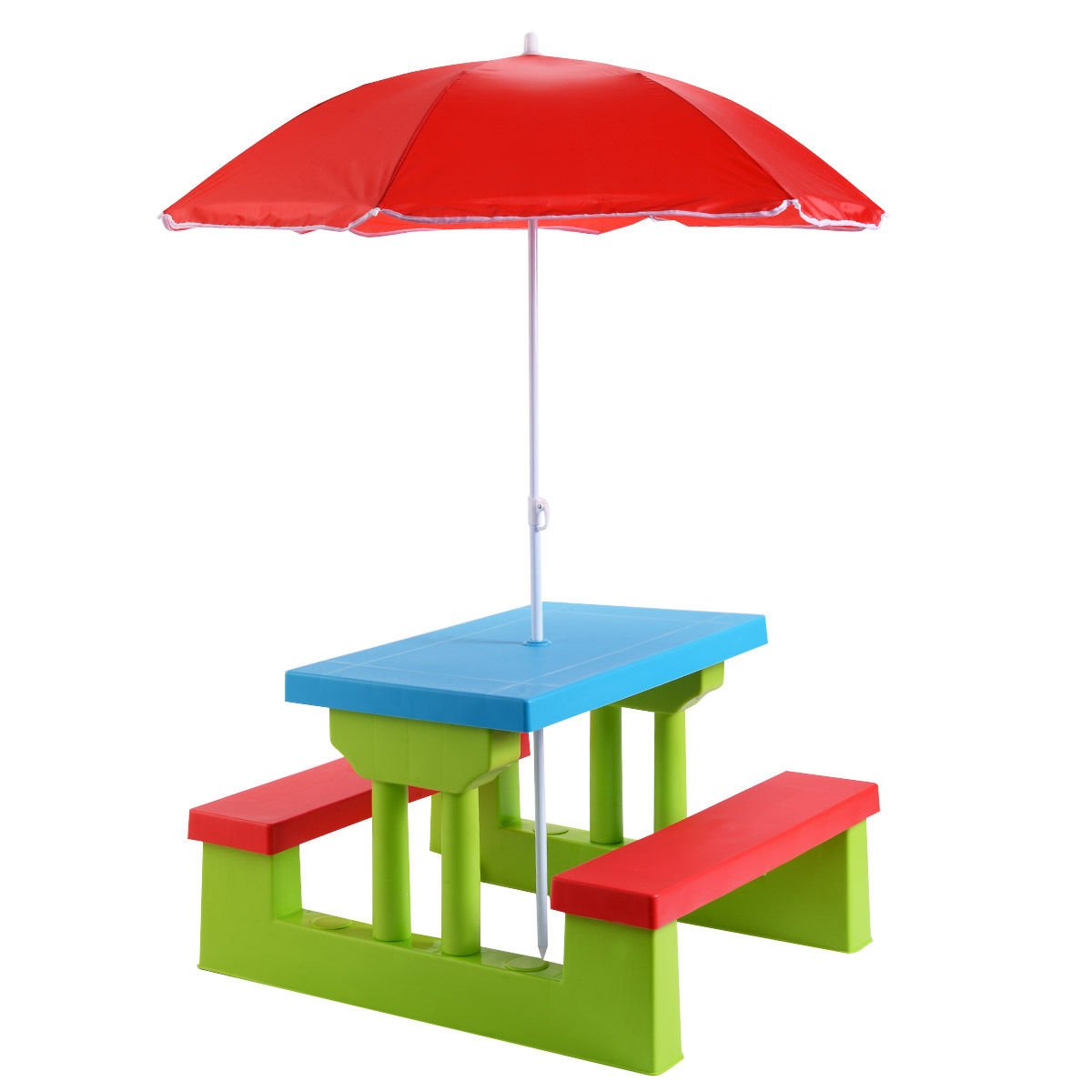 Globe House Products GHP Red Blue Green PP Indoor Outdoor Portable 4-Seat Kids Picnic Table with Umbrella
