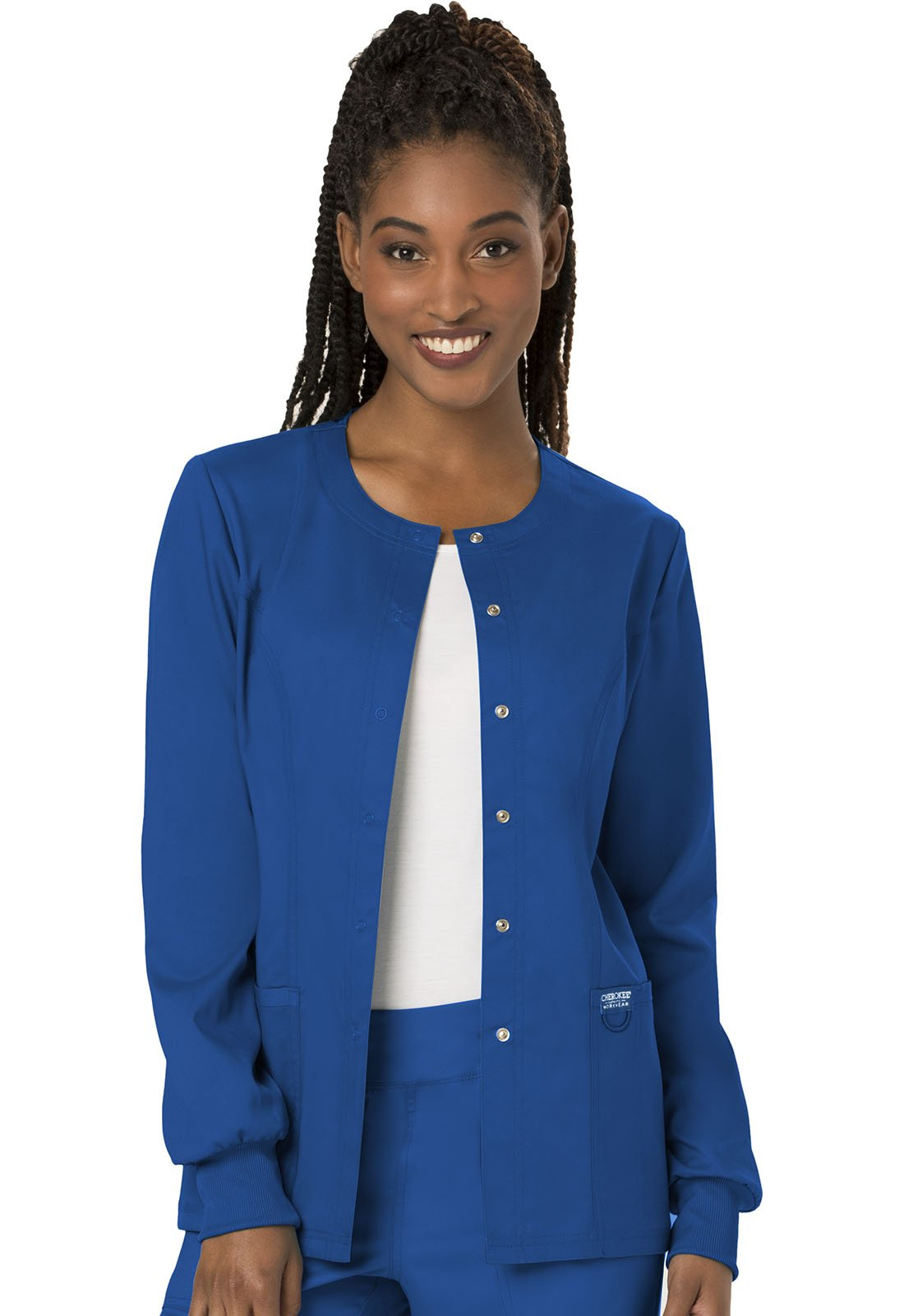 WW Revolution by Cherokee Women's Snap Front Warm-up Jacket, Royal, S by WW Revolution by Cherokee (Image #1)