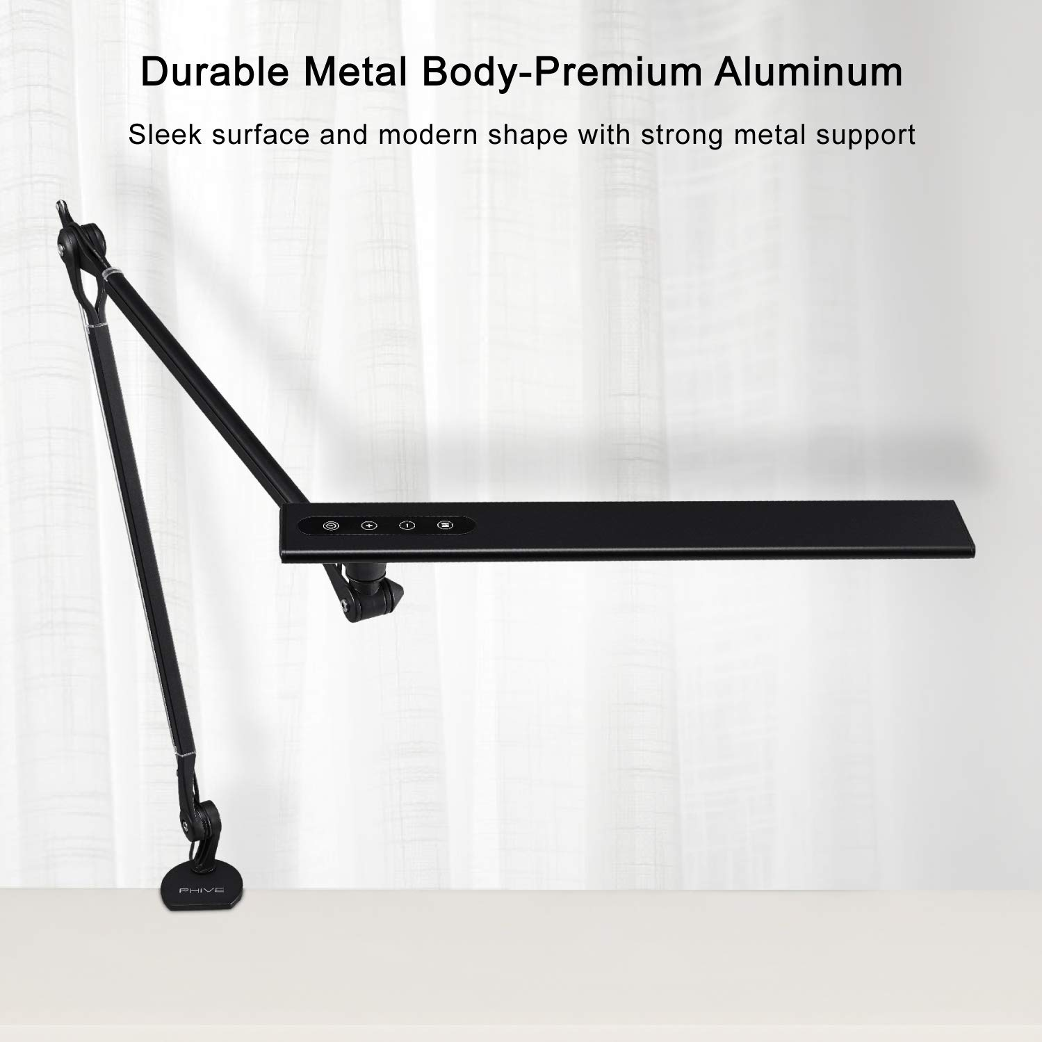 Dimmable 4 Color Modes Reading PHIVE LED Desk Lamp Eye-Caring Metal Swing Arm Drafting Table Lamp Upgraded Version Task Office Drawing Great for Workbench Architect Clamp on Desk Light