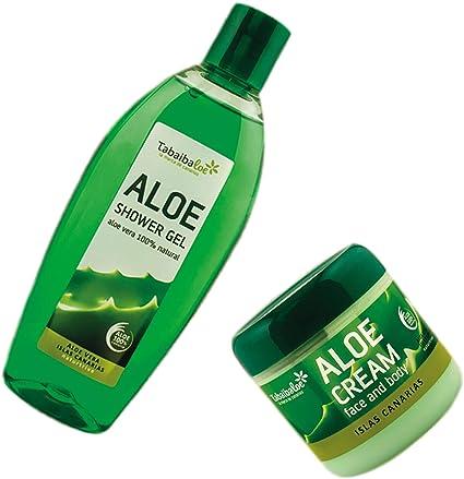 Pack Tabaibaloe Crema Hidratante Aloe Vera y Gel de Ducha Aloe Vera Crema Facial y Corporal 300 ml y Gel de baño 250 ml Tabaibaloe: Amazon.es: Belleza