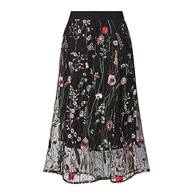Amazon.com: Falda de tul de malla con bordado floral para ...