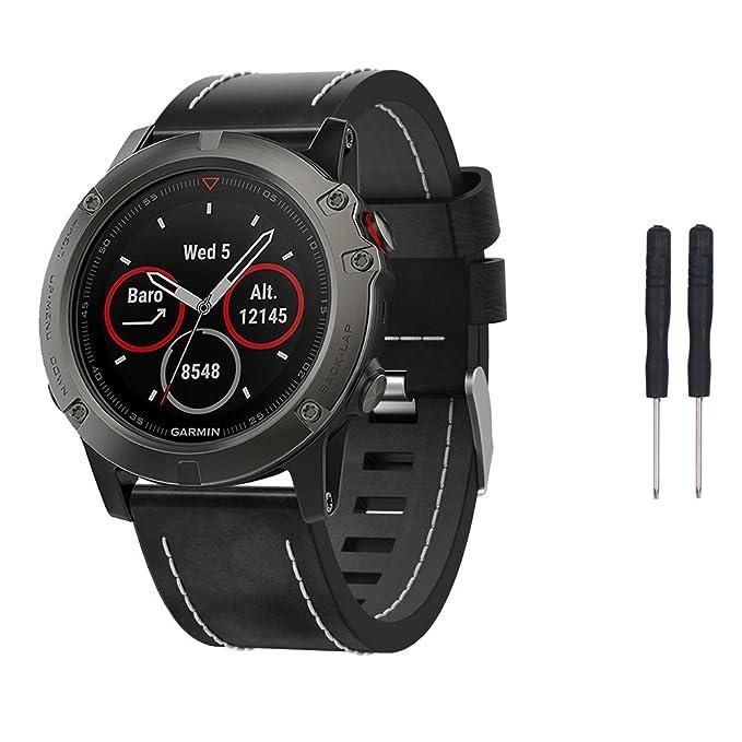 Garmin Fenix 5 x GPS reloj inteligente correa de reemplazo banda, XIHAMA correa muñeca banda reloj de piel auténtica soporte de GPS para Garmin Fenix de 5 x ...