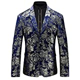 WEEN CHARM Men's Designer Floral Printed Single Breasted Two Button Modern Fit Tux Blazer Jacket Coat (XXL, Blue Gold)