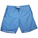 Beach Bros. Men's Swim Trunks - Quick Dry Bathing Suit w/Elastic Waistband & Pockets - Midnight Blue Gingham, Medium (Waist: 31'-33')