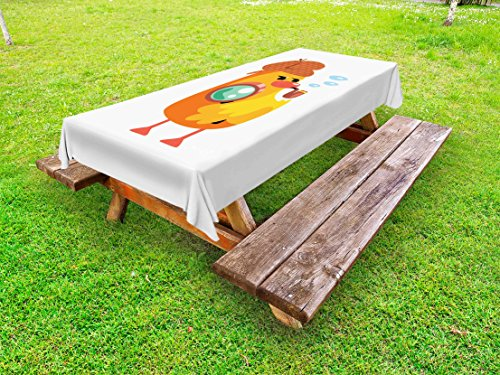Ambesonne Cartoon Outdoor Tablecloth, Private Detective Duckling Character with a Magnifying Glass and Pipe Duck Sherlock, Decorative Washable Picnic Table Cloth, 58 X 120 Inches, Multicolor