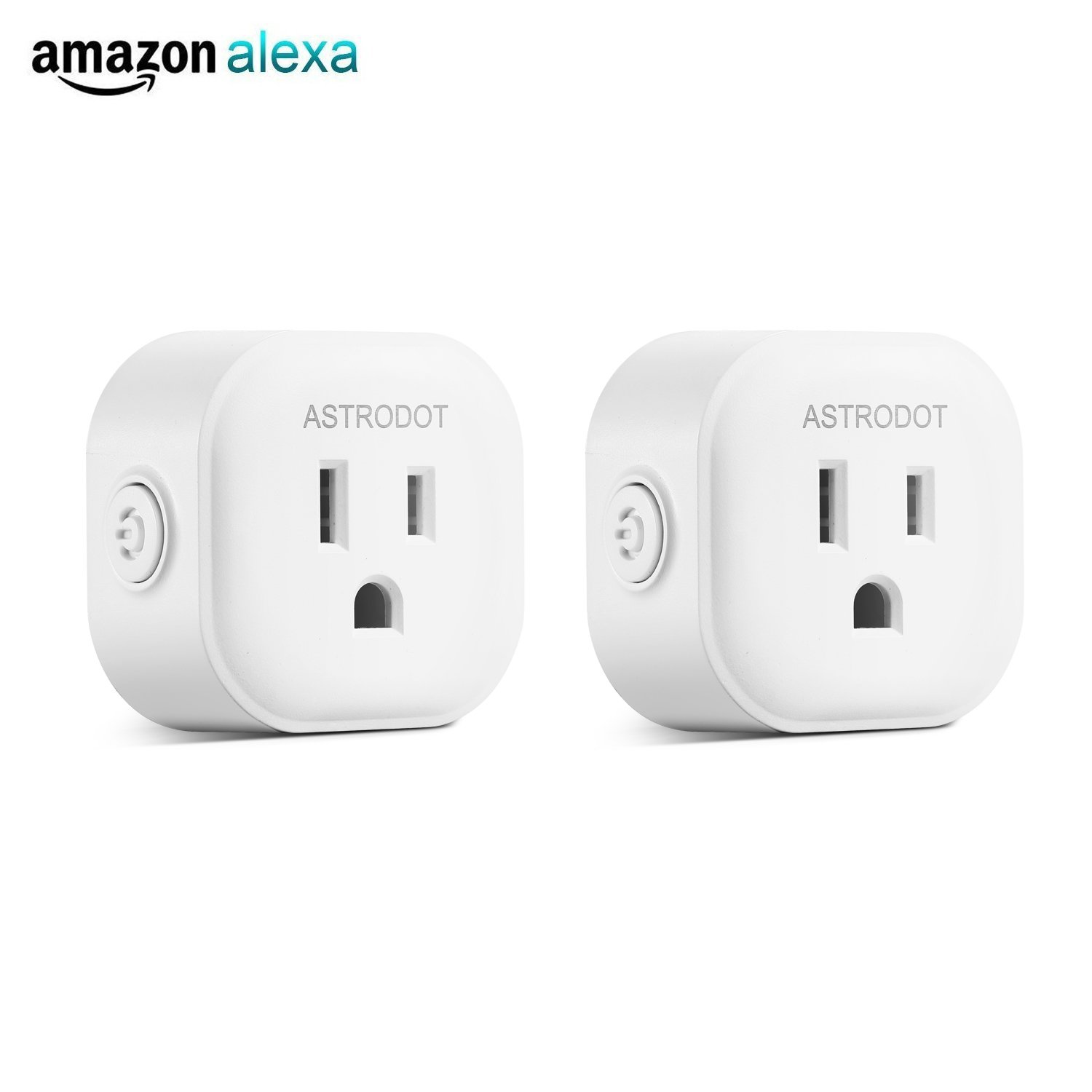 Wifi Smart Plug Mini, Astrodot Smart Home Power Control Socket, Remote Control Your Household Equipment from Everywhere, No Hub Required, Compatible with Alexa, Echo Dot & Google Home (2 Packs)