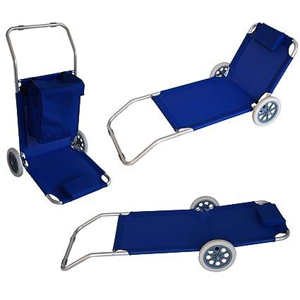 Multifunción de playa Carrito transportador (silla de playa playa Tumbona Azul