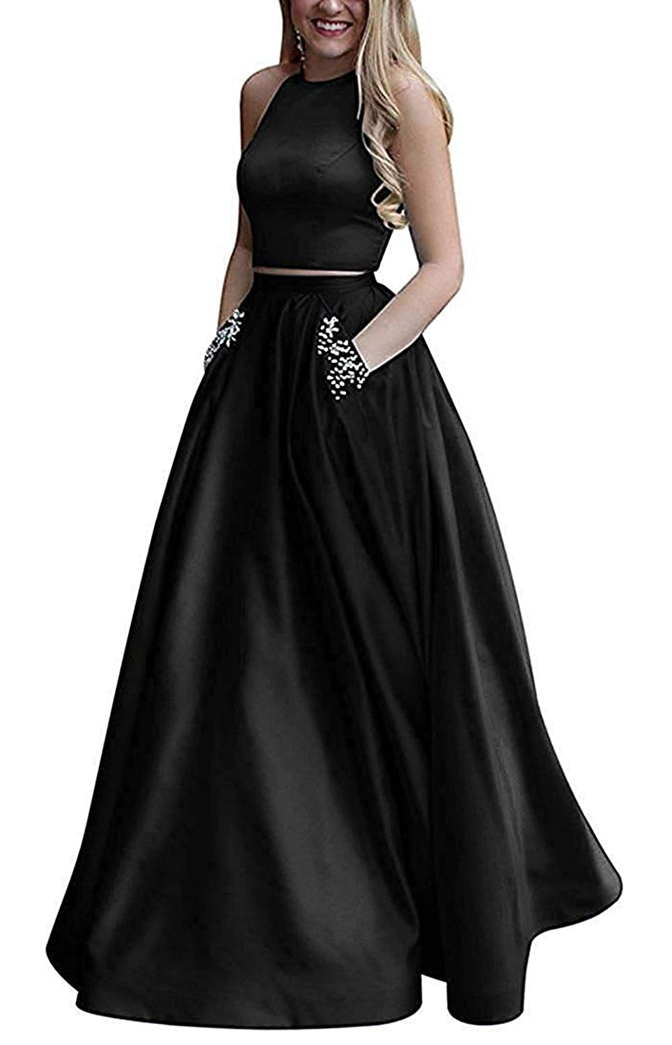 Black FTBY Two Piece Prom Dresses with Pockets 2019 Beaded Long Satin Open Back Evening Dress Womens Formal Gowns