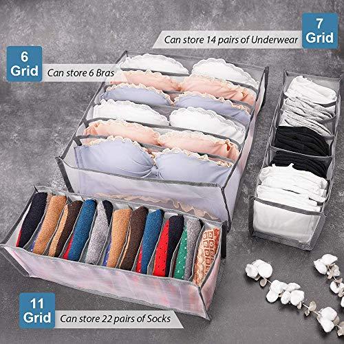 Nanssigy Underwear Organizer, Underwear Organizer Drawer Divider 3 Set, Foldable Closet Storage Boxes Dresser Drawer Organizers for Underwear, Socks, Clothes, Stockings, Scarves, Ties and Bras
