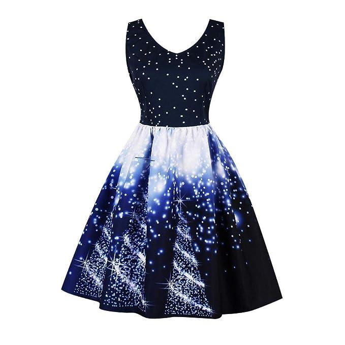 06ae5f5e3313 Vintage Dress, Elegant Starry Sky Printing Women V-Neck Sleeveless Empire  Waist Pleated Dress