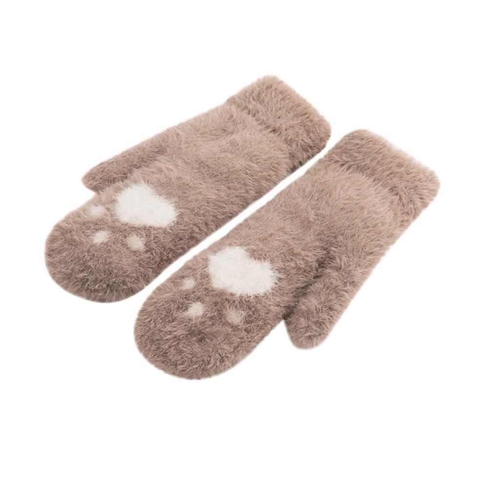 NUWFOR Unisex Gloves Mitten Fingerless Fleece Half-Fingers Fuzzy Adult Warm Winter ?Khaki,Free?