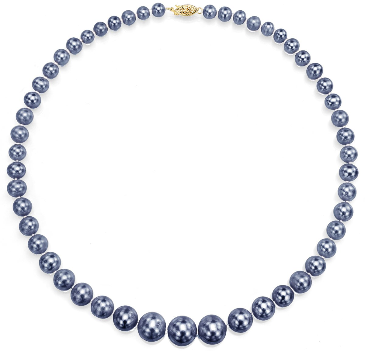 18K Yellow Gold Cultured Freshwatwer Black Pearl Necklaces for Teen Girls Graduated 6-11mm 18 inch by La Regis Jewelry (Image #1)