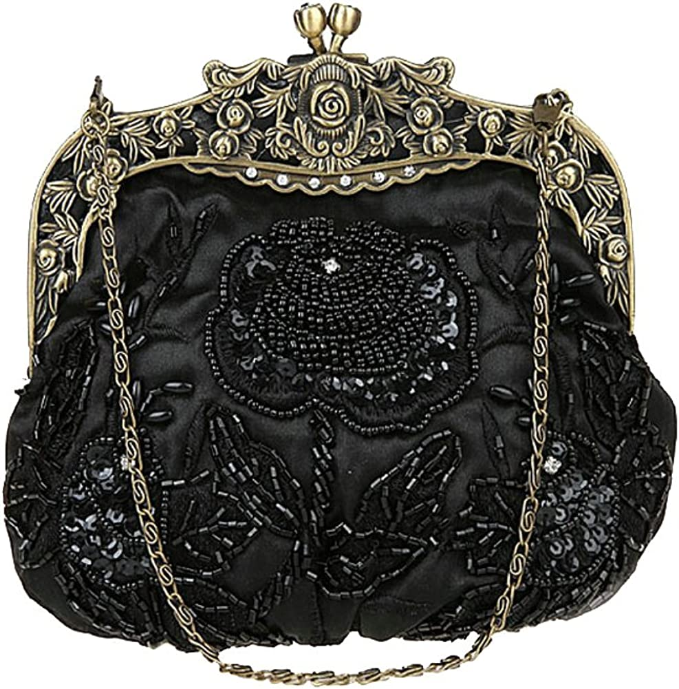ILISHOP Women's Antique Beaded Party Clutch Vintage Rose Purse Evening Handbag