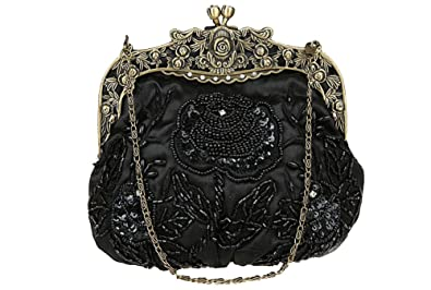 8bdaf4ecae7 ILISHOP Women's Antique Beaded Party Clutch Vintage Rose Purse Evening  Handbag (Black)