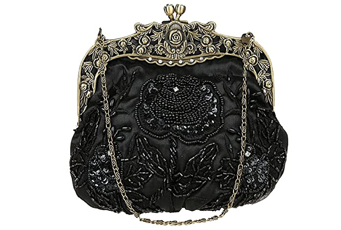 1920s Accessories Guide Antique Beaded Party Clutch Vintage Rose Purse Evening Handbag $24.99 AT vintagedancer.com