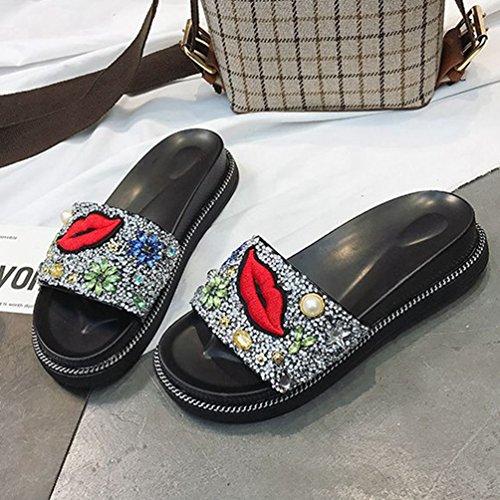 Piscine de pour Plat Pantoufle Toboggans Summer Beach Sandales Anti Argent Dérapant Plate Confort Les Femmes Forme Soft Embellissement pRw5Sxq5W