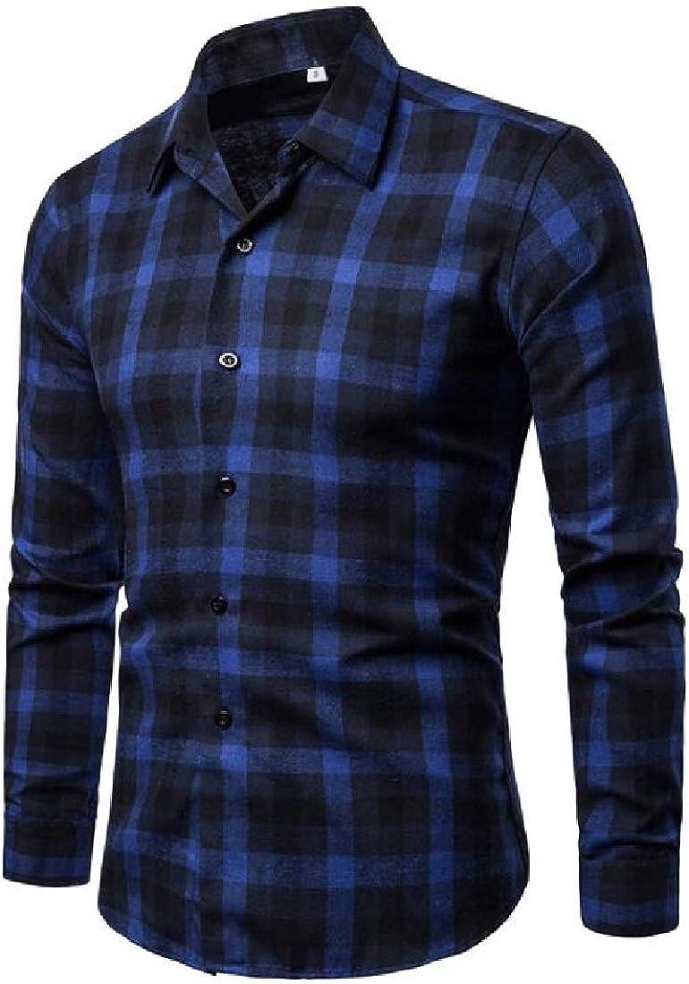 ARTFFEL Men Casual Slim Fit Long Sleeve Lapel Neck Plaid Print Button Up Dress Work Shirt
