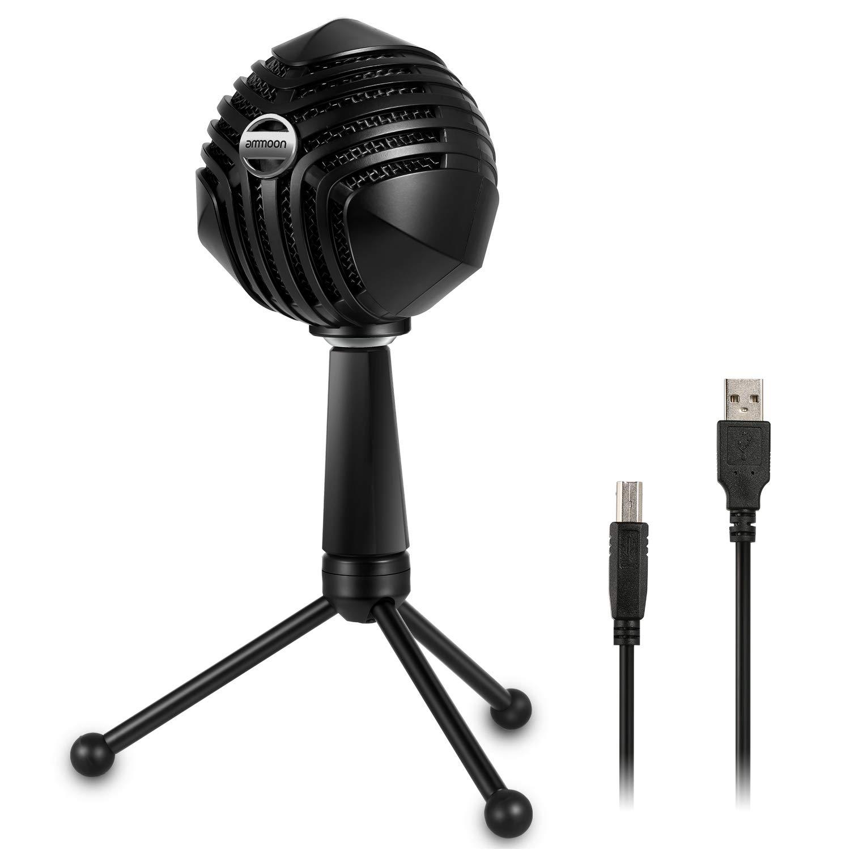 ammoon Micrófono de condensador USB Micrófono en forma de bola con sobremesa Mini trípode de metal Soporte para PC Portá
