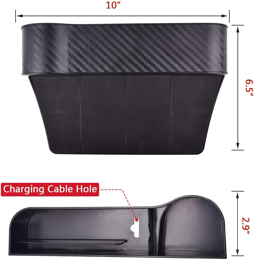 Black Front Seat Storage Box Wrdlosy Car Seat Gap Organizer Multifunctional Car Seat Gap Organizer with Cup Holder NOT FIT Central Console Lower Than The Seat