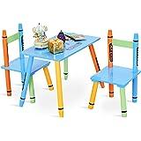 COSTWAY 3tlg. Kindersitzgruppe Kindermöbel Kindertisch mit 2 Kinderstühlen Holz
