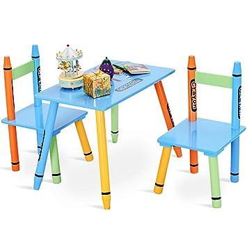 COSTWAY Sitzgruppe Kinder, 3tlg. Kindersitzgruppe, Kindermöbel aus ...