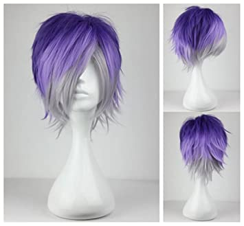 Amazon Com Kadiya Anime Short Purple Silver Boy Girl Cosplay Wig