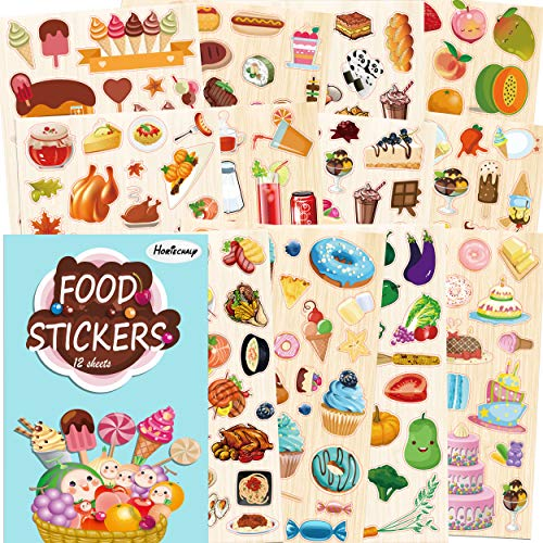 Horiechaly food stickers sheets for kids, 12 sheets DIY journal accessories bullet stickers for kids, teachers, restaurant & food theme decorative including cake, sushi, coffee, fruit, vegetable, brea ()