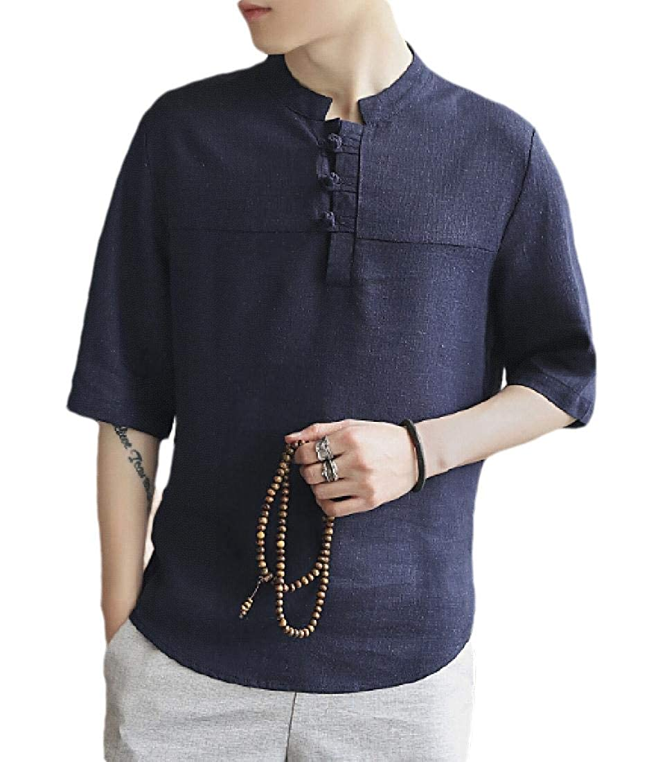 Xswsy XG Men Short Sleeve Frog Button Up Tops Beach Cotton Linen Shirts