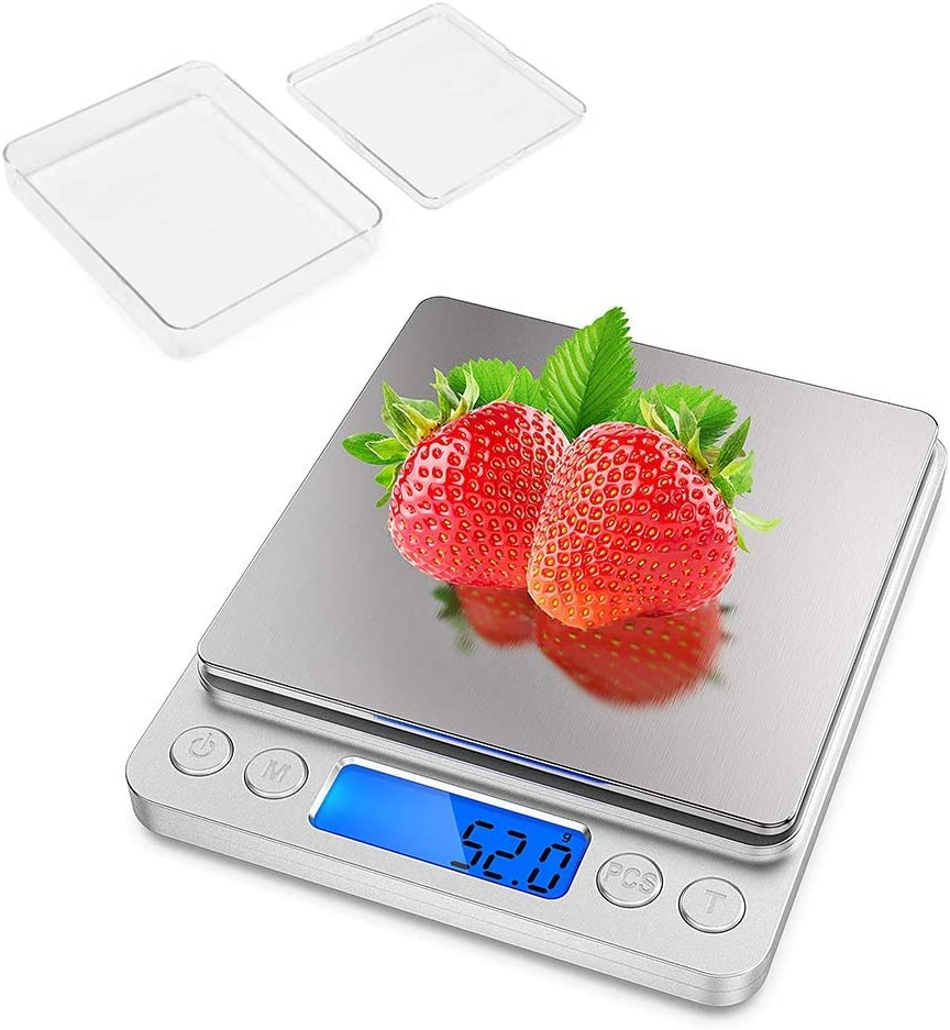 RONGER Food Scale, Multifunction Precision Kitchen Scale Weight Grams And Oz, Backlit Display,For Baking And Cooking, Small, Stainless Steel