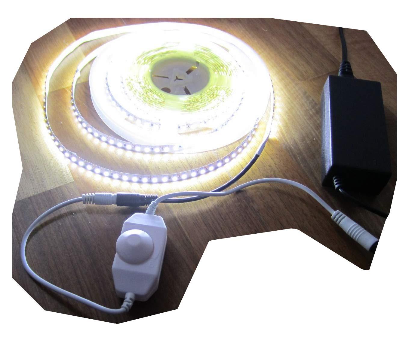 SET HIGH POWER LED LED LED Streifen Stripe Strip 5mt neutralweiß weiss naturweiß 600LED mit Dimmer inkl. Netzteil (Pro-Serie) TÜV GS geprüft 24V, 2760Lumen von AS-S 579d9a