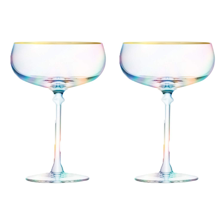 Root7 Rainbow Martini Cocktail Glass   Tinted Borosilicate Glasses, Perfect Martini Gift, Set of 2, 9oz