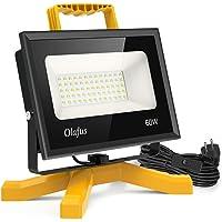 Olafus 60W 6000LM Focos LED Exterior con Enchufe y Cable Foco LED Trabajo 5000K Blanco Frío IP66 Impermeable, Work Lamp Floodlight LED para Zona de Construcción, Remodelación Hogar, Garaje