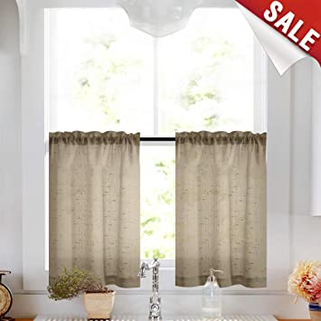 Taupe Tier Curtains 36 inch Rod Pocket Kitchen Window Tiers Tan Sheer Cafe  Curtain Set Linen Textured Voile Drapes 2 Panels