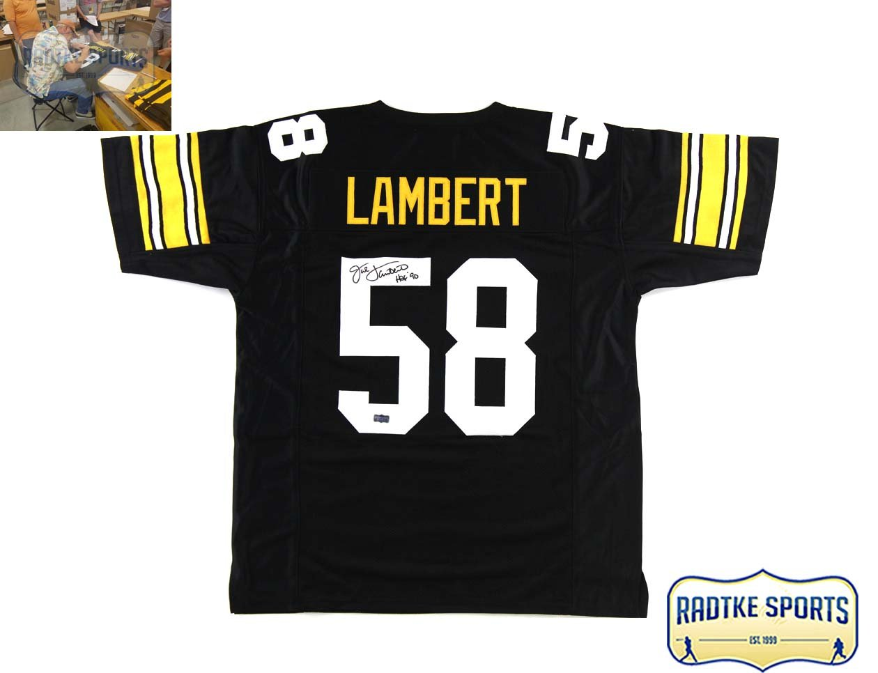65277cee1c5 Amazon.com: Jack Lambert Autographed/Signed Pittsburgh Black Throwback  Custom Jersey with