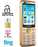 Gamma S11 2.8 Inch Big Screen Unlocked Cell Phone - 2200Mah Big Battery Long time Standby, Speed Dial, Bluetooth, Dual-SIM GSM Quad-Bands Worldwide Cell Phone(Golden)