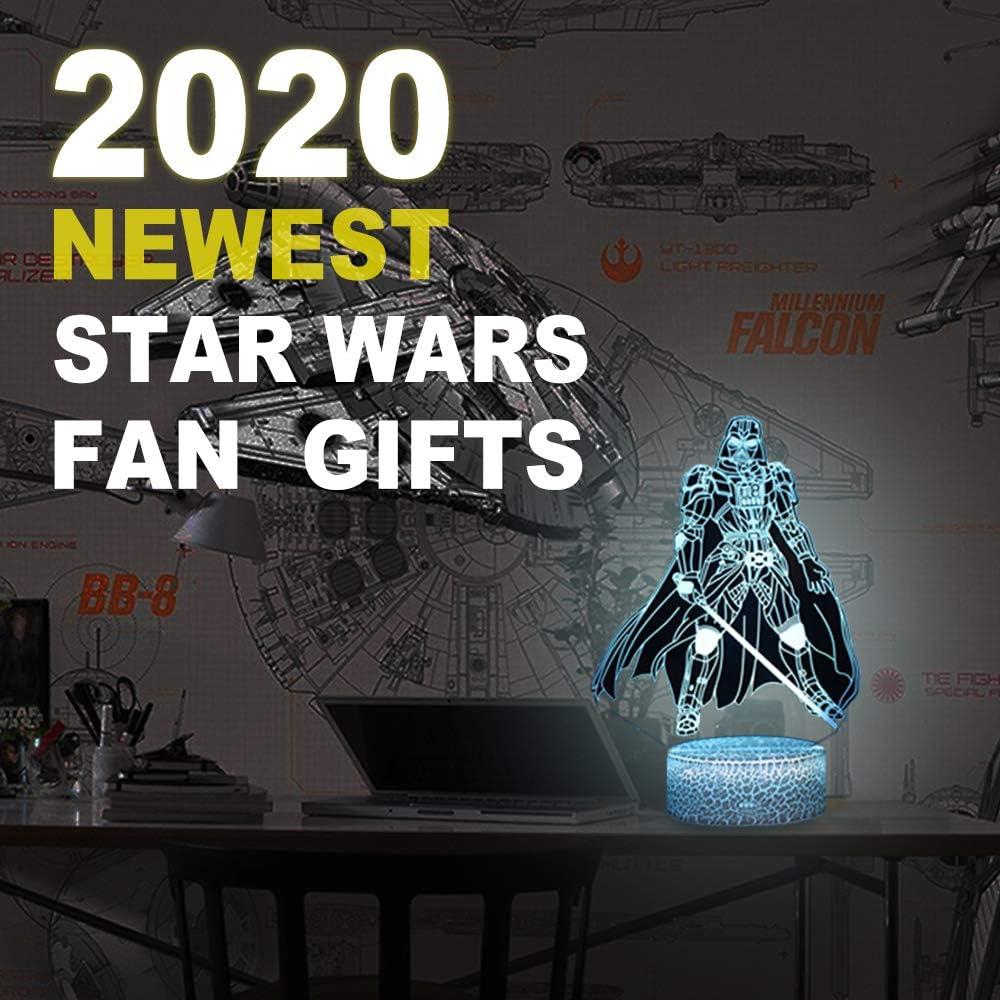 Veilleuse 3D Star Wars 16 couleurs changeantes LED Veilleuse avec t/él/écommande et Smart Touch Cadeau de No/ël et danniversaire pour enfants et fans de Star Wars Darth Vader