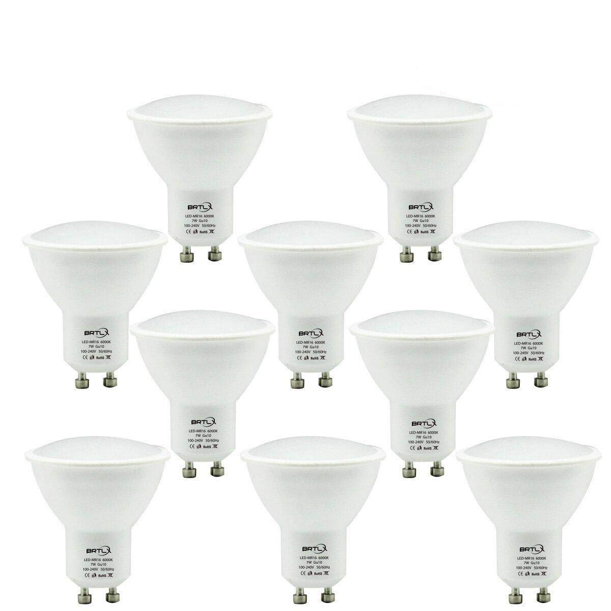 BRTLX 7W GU10 LED Bulb Non-Dimmable 6000K Cool White 120 Degree Beam Angle 600lm Frosted 10-Pack