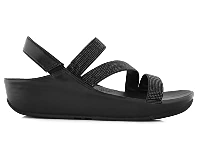 6baa7e0f62bc8 FitFlop Fit Flop Women s Crystall Z Strap Sandal Black  Amazon.com ...