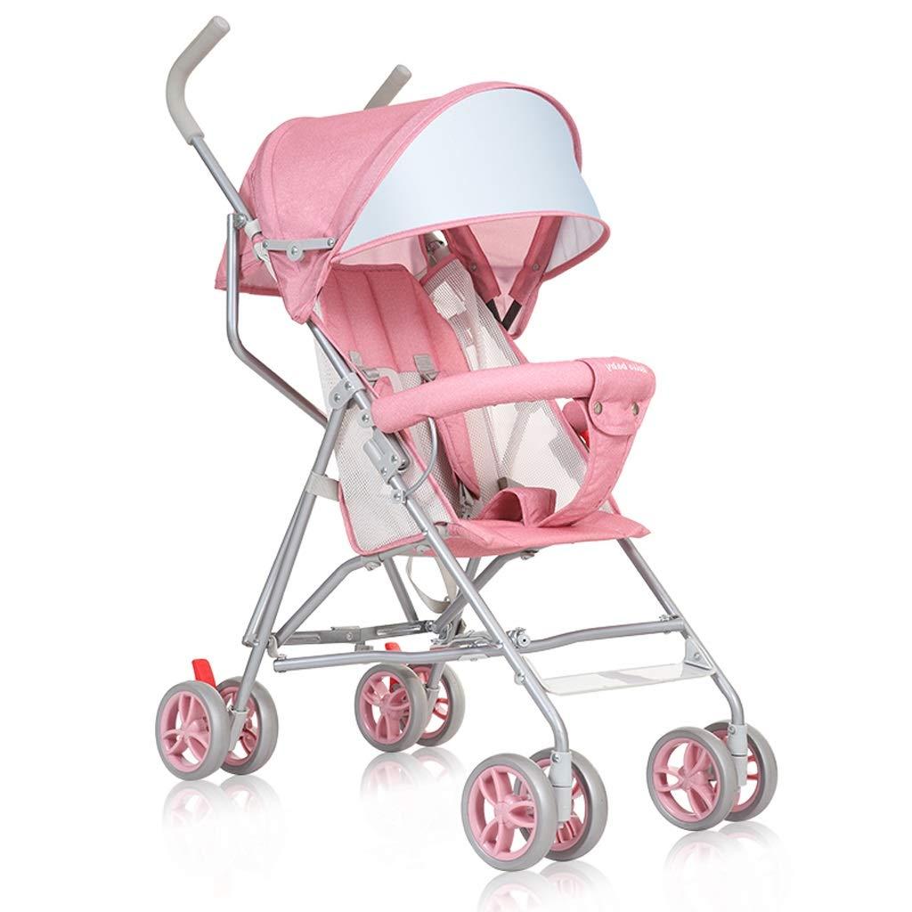 LCMJ 幼児用ベビーカー 軽量 折りたたみ ベビーカート 快適なトラベルシステム 傘 ピンク  ピンク B07GTNS12C