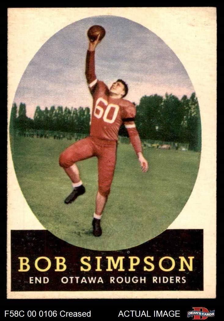 1958 Topps # 38 Bob Simpson (Football Card) Dean's Cards 3 - VG Windsor