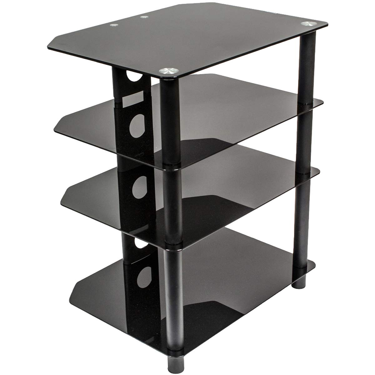 NavePoint Media Stand Glass 4 Shelf Audio Video Component Storage Tower by NavePoint