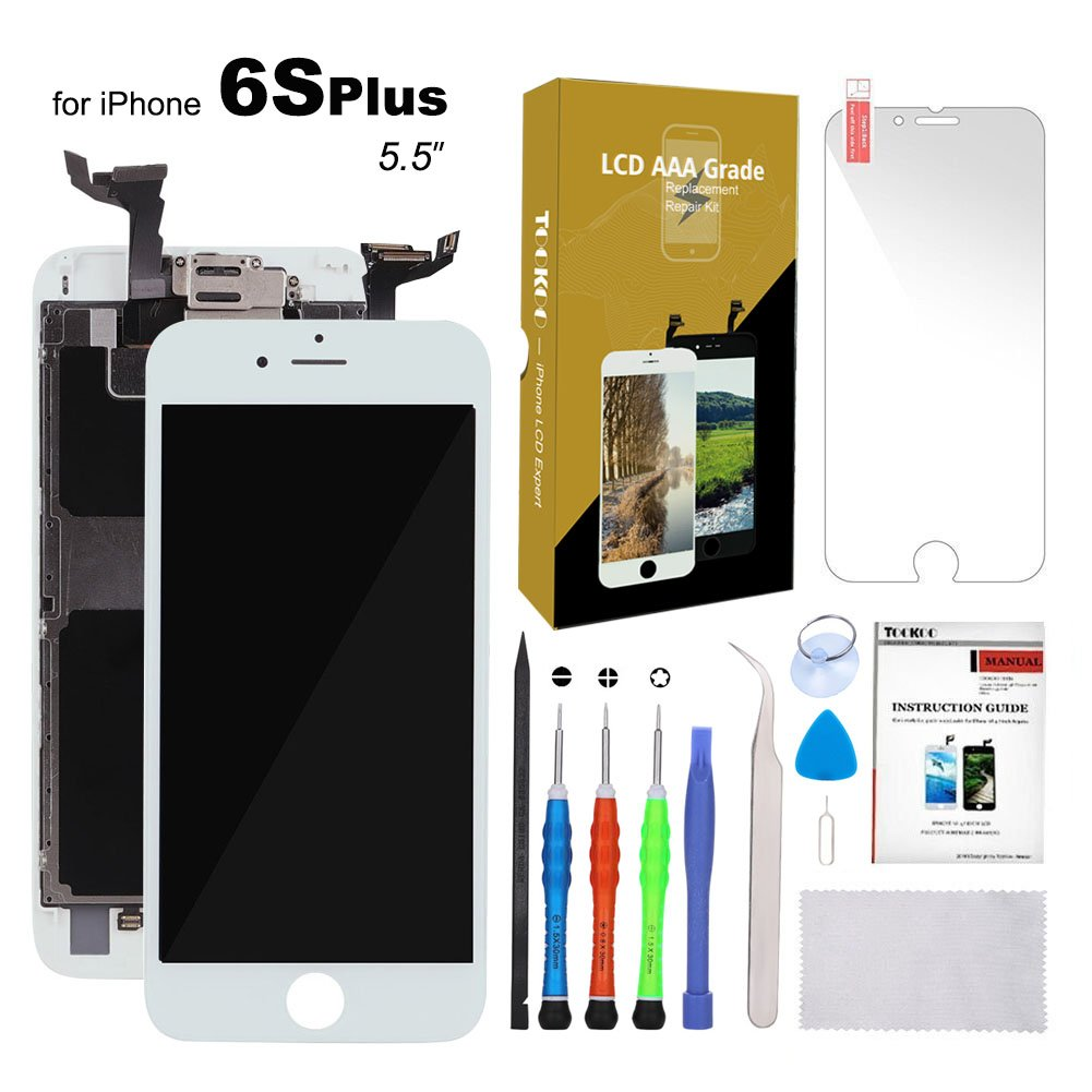For iPhone 6S Plus Screen Replacement 5.5'' White LCD Display with 3D Touch Screen Digitizer Full Assembly + Front Camera + Earpiece + Free Screen Protector + Repair Tools Kit (White)