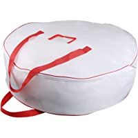 "Christmas Wreath Storage Bag - Xmas Large Wreath Container - Reinforced Wide Handle and Double Sleek Zipper - Heavy Duty Protect Your Holiday Advent, Garland, Party Decorations and Ornaments 25"",White"