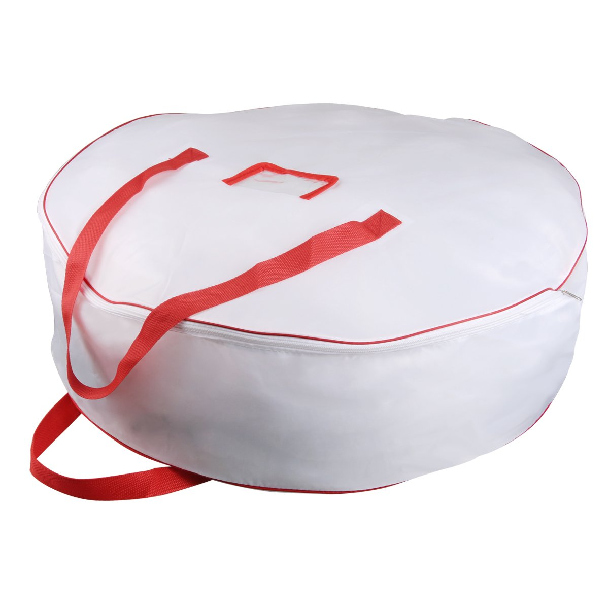 Christmas Wreath Storage Bag - Xmas Large Wreath Container - Reinforced Wide Handle and Double Sleek Zipper - Heavy Duty Protect Your Holiday Advent, Garland, Party Decorations and Ornaments 25'',White by TQS