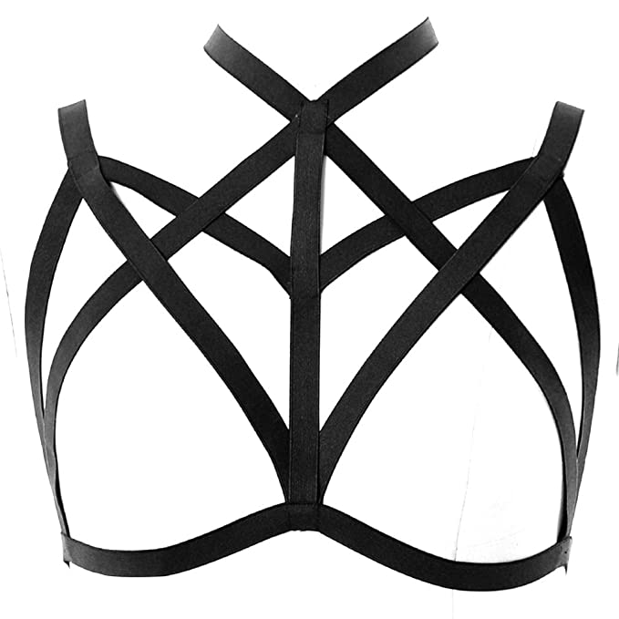 4611fed0b3 Image Unavailable. Image not available for. Color  Strappy Harness Bra Set  Full Hollow Out Body Cross ...