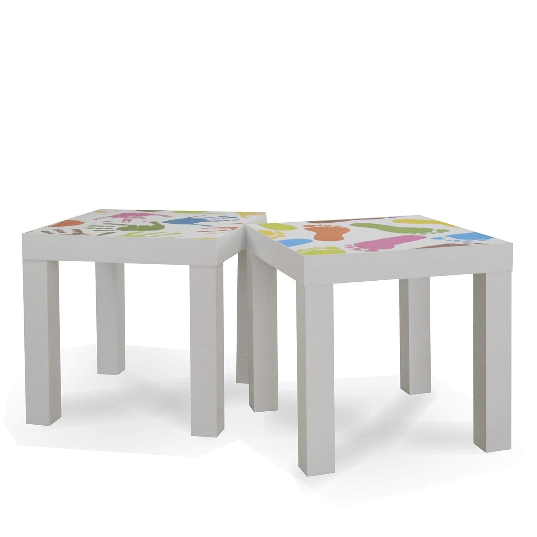 CRIBEL Ruby Color Blanco con Decoraciones Juego de 2/mesas auxiliares de Madera lacada