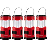"TANSOREN 4 Pack Portable LED Camping Lantern Solar USB Rechargeable or 3 AA Power Supply, Built-in Power Bank Compati Android Charge, Waterproof Collapsible Emergency LED Light with S"" Hook"