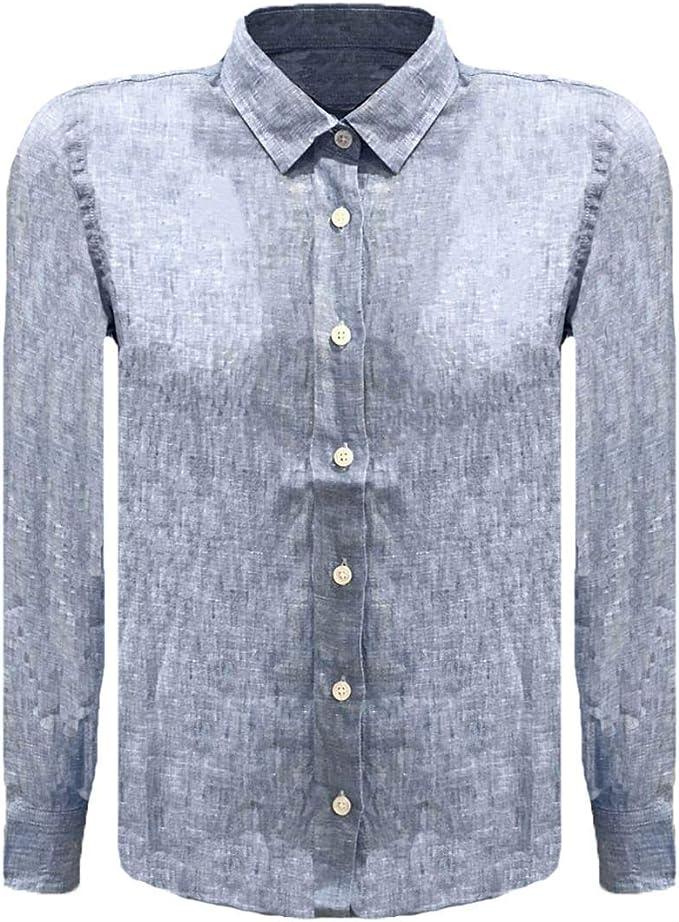 RONNIE KAY Camisa de Lino niños, Celeste: Amazon.es: Ropa y accesorios