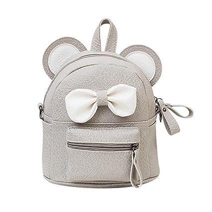 a564b49e3ea Sameno Leather School Bag Travel Backpack Satchel Bow Tie Women Shoulder  Bag Girl Women (Gray)