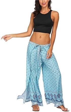 b79226c7e94a2 SilverBasic Femmes Boho Harem Pantalon Dames Floral Imprimer Élastiquée  Taille Pantalon Yoga Fluide Sport Eté (